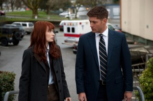 Felicia Day as red-haired hacker Charlie with Jensen Ackles as Dean Winchester