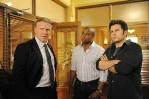 Anthony Michael Hall as Trout, with Gus and Shawn