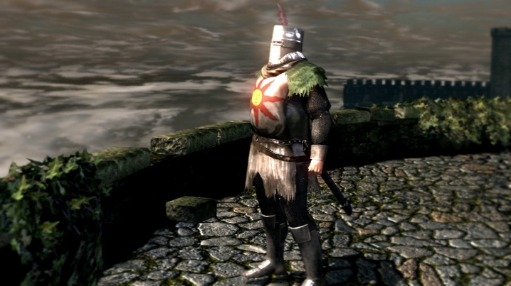 Solaire gazes at the sun